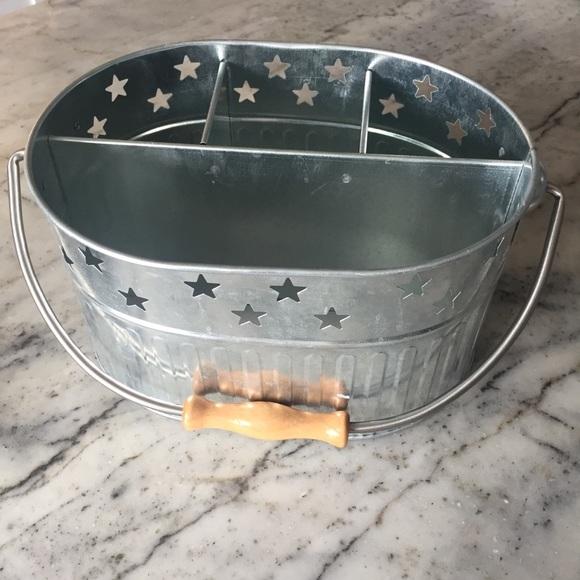 Galvanized silver flatware silverware caddy